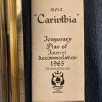 Cunard Line: Carinthia Temp Tourist Class Plans 1965