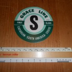 "Grace Lines: ""S"" Baggage sticker"