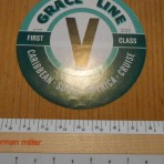 "Grace Lines: ""V"" Baggage sticker"