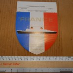 French Line: SS France Shield Baggage sticker. Restocked