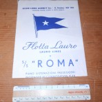 Lauro Line: Roma tissue deckplan dated 1953