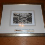 French Line: SS Paris Grand staircase interior framed photograph.