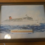 Cunard Line: Cunard Princess/ Countess Reprinted watercolor picture.