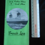 French Line: Ile de France Green Deckplan Cabin Class 1951