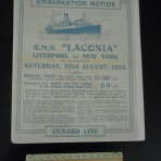 Cunard Line: Laconia Embarkation notice Tourist Third  Aug 23rd 1924