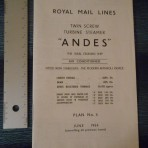Royal Mail Line; SS Andes Tissue Deckplan June 1964