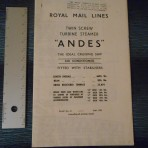 Royal Mail Line; SS Andes Tissue Deckplan  May 1970