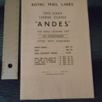 Royal Mail Line; SS Andes Tissue Deckplan 1967