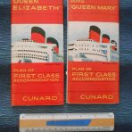 Cunard Line: Set of First Class Plans for Queens Mary and Elizabeth