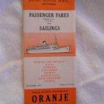 Nederland Line: Oranje Fares and sailings November 1961