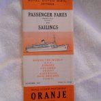 Nederland Line: Oranje Fares and sailings November 1961