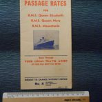 Cunard White Star: Passage Rates 1947 QE/ QM and Mauretania