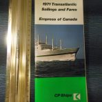 Canadian Pacific: Empress of Canada 1971 Sailings and Fares