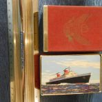 United States Lines: SSUS Playing Cards Red Felt Box