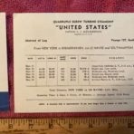 United States Lines: SSUS 127 Eastbound Log Card