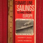 Cunard Line: Sailings folder #3 July 23 1962