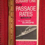 Cunard Line: Passage Rates 1964