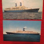 Lauro Lines: 2 Post cards Achille and Angelina Lauro.