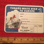 Cunard White Star: QE baggage Sticker