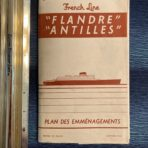 French Line : Antilles /Flandre Heavy Tissue Deck Plan 1952