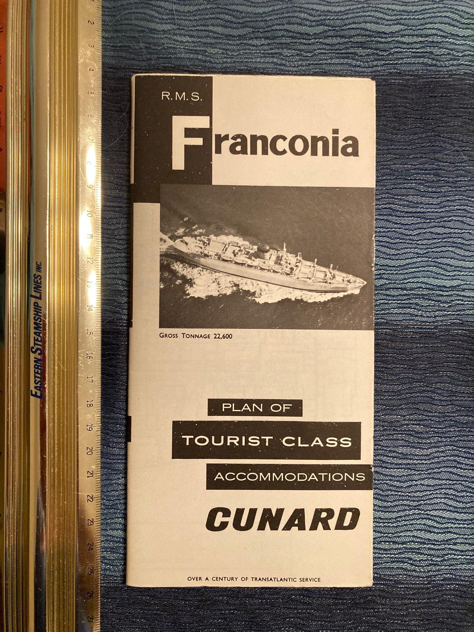 Cunard Line:  Franconia Tourist Class Deck Plan