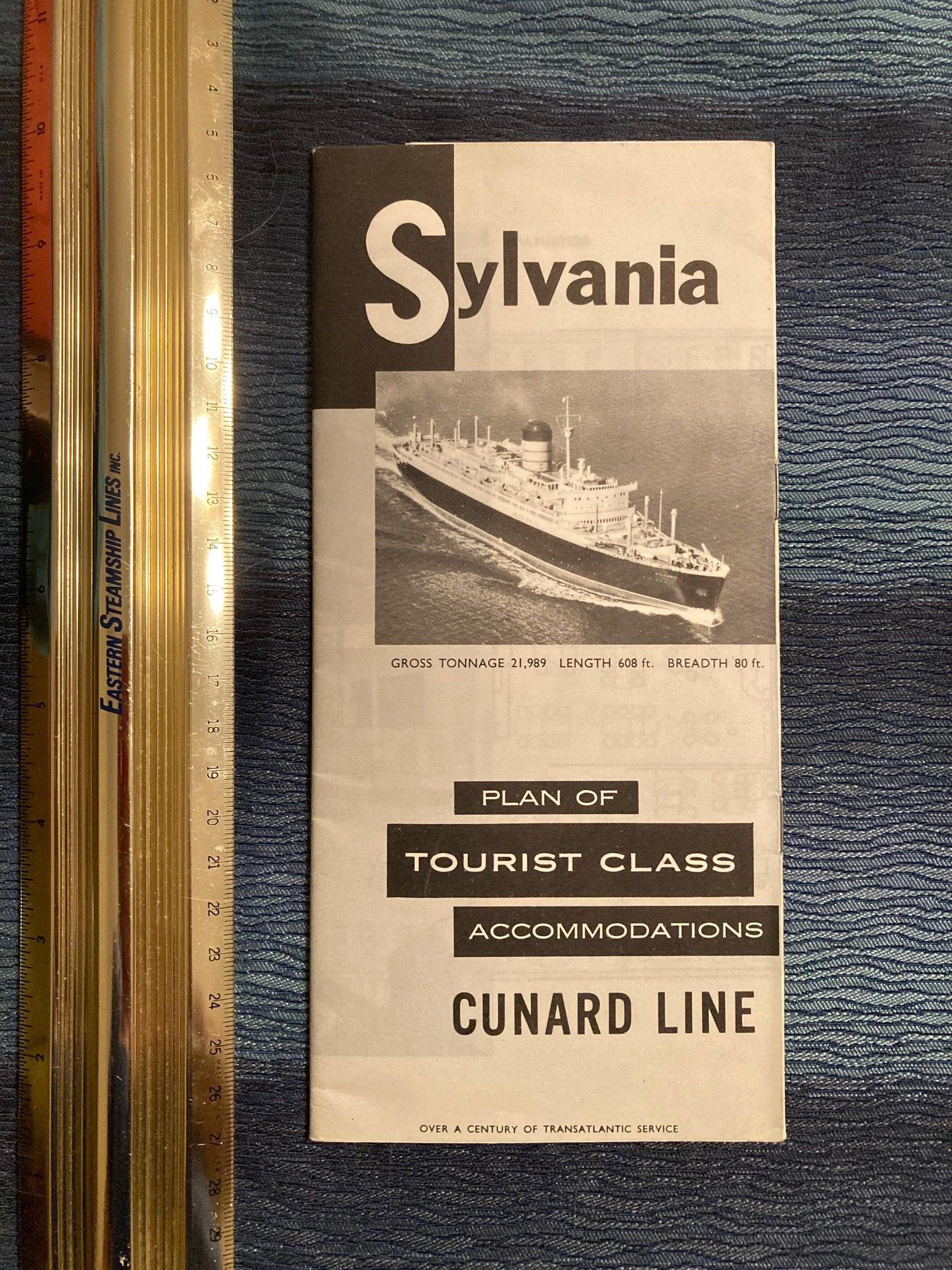 Cunard Line:  Sylvania Tourist Class Deck Plan