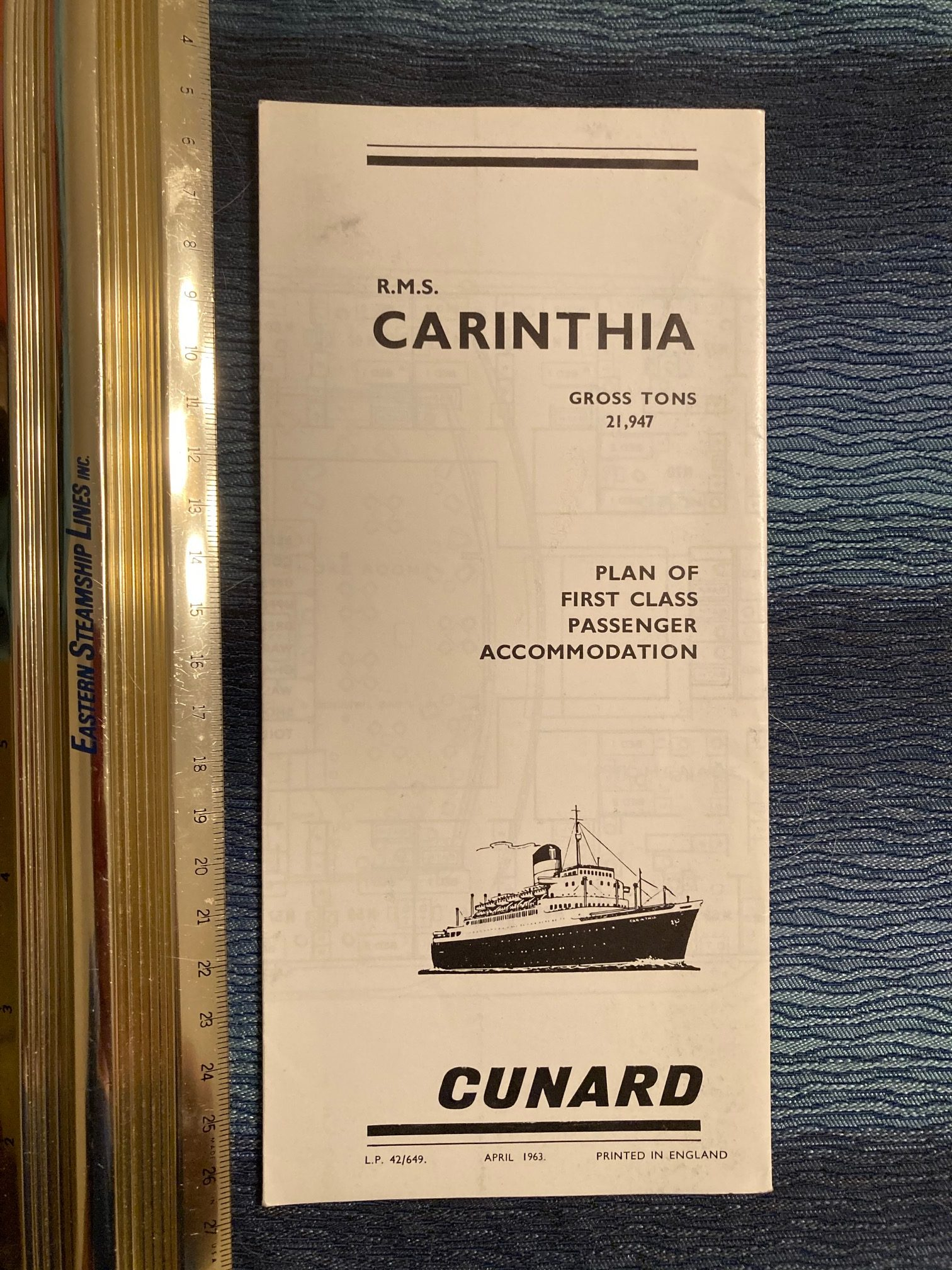 Cunard Line:  Carinthia First Class Deck Plan