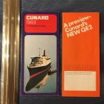 Cunard Line: 1969 QE 2 Maiden season Preview and Fares folders.