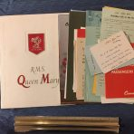 Cunard White Star: RMS Queen Mary Voyage Portfolio with Voyage mementos