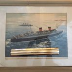 Cunard Line: Queen Mary & Elizabeth Mid-Atlantic Agency Print