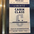 French Line: SS Liberte Cabine Classe Deck Plan June 1957