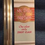 Cunard Line: Media and Parthia Green and Gold Interior Fold Out