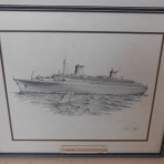 French Line/ NCL: SS Norway James flood drawing relisted and repriced