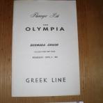 Greek Line: SS Olympia Bermuda cruise passenger list.
