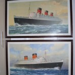 Cunard line: Queen Mary and QE matching Framed prints.