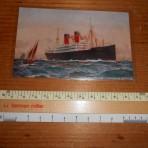 Cunard Line:  Ascania 2 funnel Advert postcard