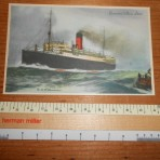 Cunard Line: Franconia Thomas Cook and Sons Advert. postcard.