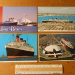 Cunard Line: Queen Mary 4 postcard set @ Long beach