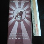 HAL: Nieuw Amsterdam June 1957 brown deckplan Tourist and cabin class