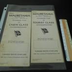 Cunard Line: Mauretania 2 CC and TC temp plan set 1947