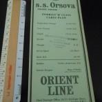 Orient Line: Green SS Orsova Tourist plan 8/56