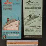 Old Bay Line: 1955 Season Brochure folder and sailing/ rate fold out