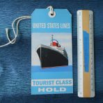 United States Lines: Tourist Class Baggage Tag.