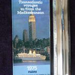 Italian Line: Transatlantic Voyages to/from the Mediterranean 1975 Rates