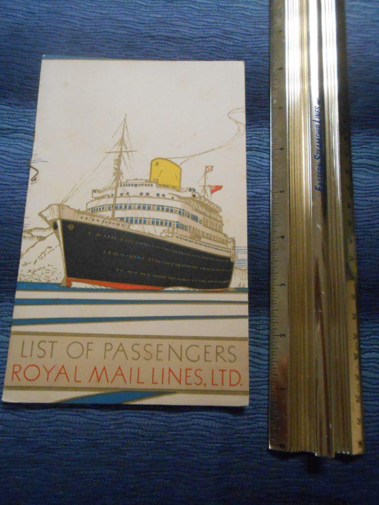 Royal Mail Ss Andes Portrait Passenger List November 1948