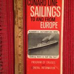 Cunard Line: Sailings folder #4 October 29th 1962
