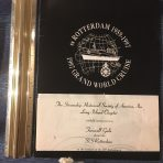 HAL: SS Rotterdam Menu and Flyer for the SSHSA Farewell Gala Dinner onboard in NYC April 1997