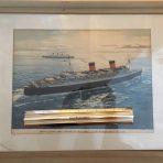 Cunard Line: Queen Mary & Elizabeth Mid-Atlantic Agency Print
