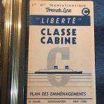 French Line: SS Liberte Cabine Classe Deck Plan April 1950