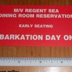 Regency Cruises: Regent Sea Dining Room seating ticket